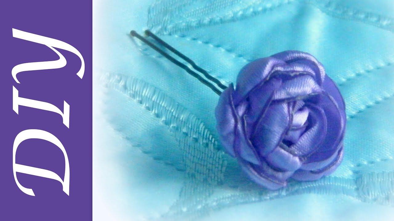 Шпильки для волос с цветами из лент 127