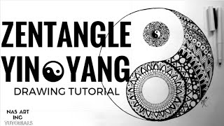 ☯ZENTANGLE YING YANG☯||EASY TUTORIAL||SPEED DRAWING