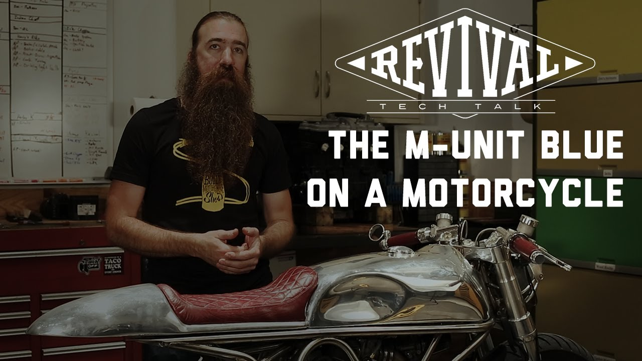 revival cycles tech talk the m unit blue on an actual motorcycle [ 1280 x 720 Pixel ]