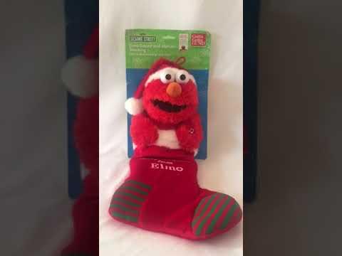 Gund Sesame Street Elmo Musical Christmas Stocking Toy Doll