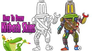 How To Draw and Coloring kitbash skins Fortnite easy step by step ~ for kids