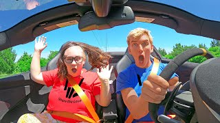 Mystery Neighbors Disguise Falls off in My NEW Supercar!! (Ellen's Face Reveal)