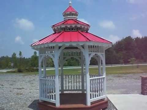 8x8 Octagonal Gazebo With Cupola Red Metal Roof Youtube