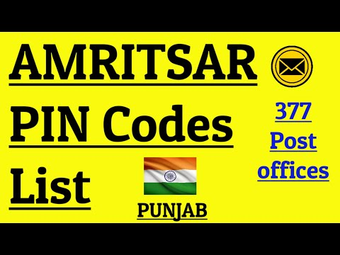 AMRITSAR PIN Code s List    377 Post Offices    PUNJAB