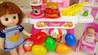 Baby doll Hamburger kitchen and Surprise eggs Kinder joy toys play