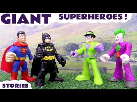 Batman Superman Superhero Thomas and Friends Play Doh Stories with Super Villains and Avengers
