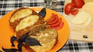 Мясной рулет с моцареллой и помидорами