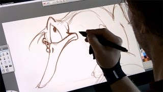Drawing a cartoon on the Wacom Cintiq 22HD (Digital art)