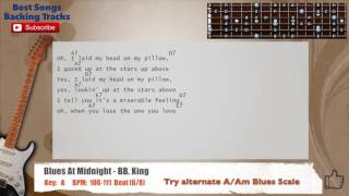 Blues At Midnight - BB. King Guitar Backing Track with scale, chords and lyrics