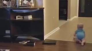 Funny baby play with dog 🌸
