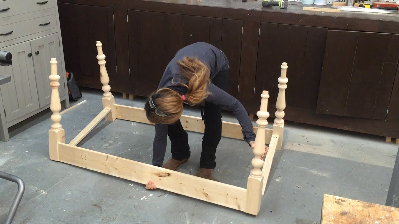 how to build a farmhouse table part 1 table base with turned legs