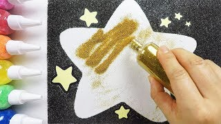 A star with glitter coloring & drawing & studying English for kids ㅣ 반짝이 별 그리기 색칠하기 영어 공부