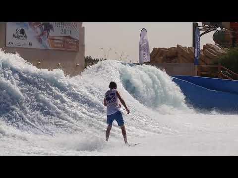 Worlds Best FlowRider Flow Barrel Championships at Yas Waterworld Abu Dhabi Dubai UAE Greg vs Eric