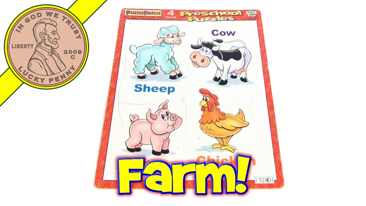 Farm Animals Frame Tray Puzzle Patch Puzzle, 2000 - YouTube