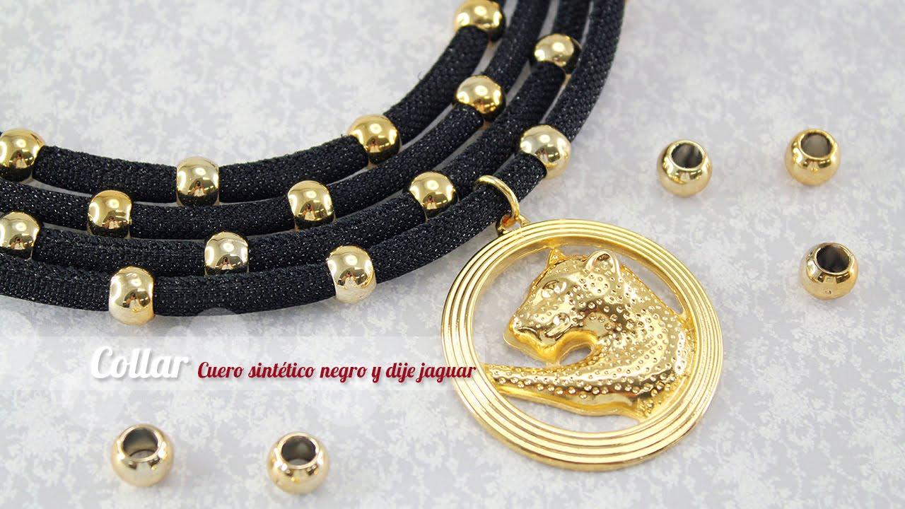 928ef69b5438 Como hacer un collar cuero negro y dije jaguar (ENGLISH CC) - YouTube