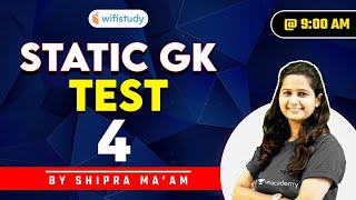 9:00 AM - Static GK Test | SSC and Railway Exams | GK by Shipra Chauhan | Test-4