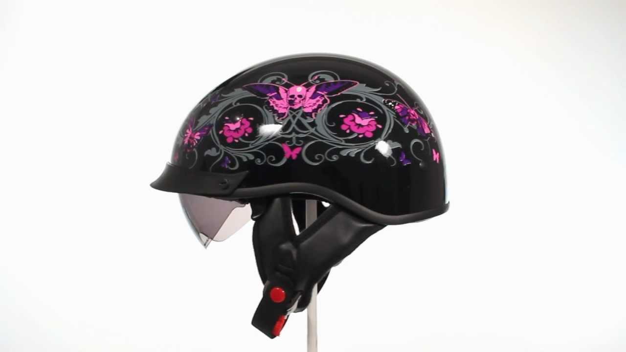 Motorcycle Helmets Dot >> Outlaw T70 Pink Skull Butterfly Dual Visor DOT Half Helmet ...