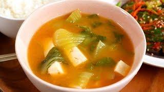 Bok Choy Tofu Doenjang Soup (Cheonggyeongchae dubu-doenjangguk: 청경채 두부된장국)