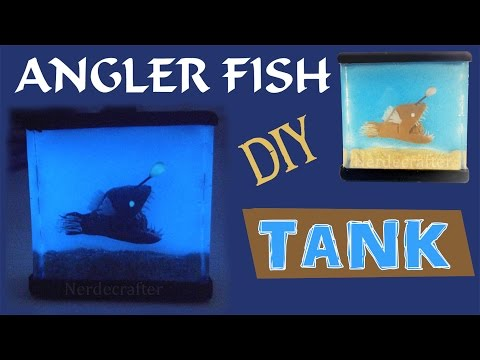 DIY ANGLERFISH TANK Polymer Clay & Resin Tutorial Angler Fish How to halloween scary tank craft mini