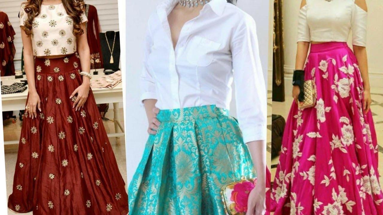 Skirt Blouse Design For Girls Ll Contrast Colour Combination For Skirt Blouse Youtube