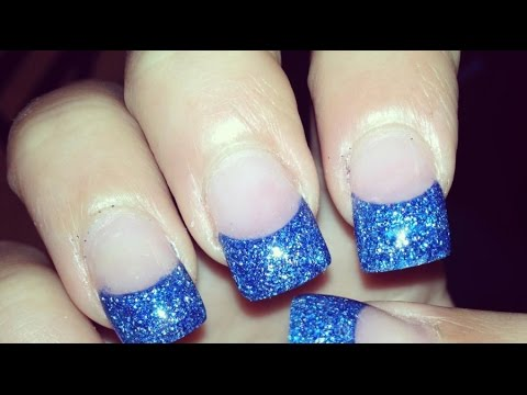 Royal blue tip nails