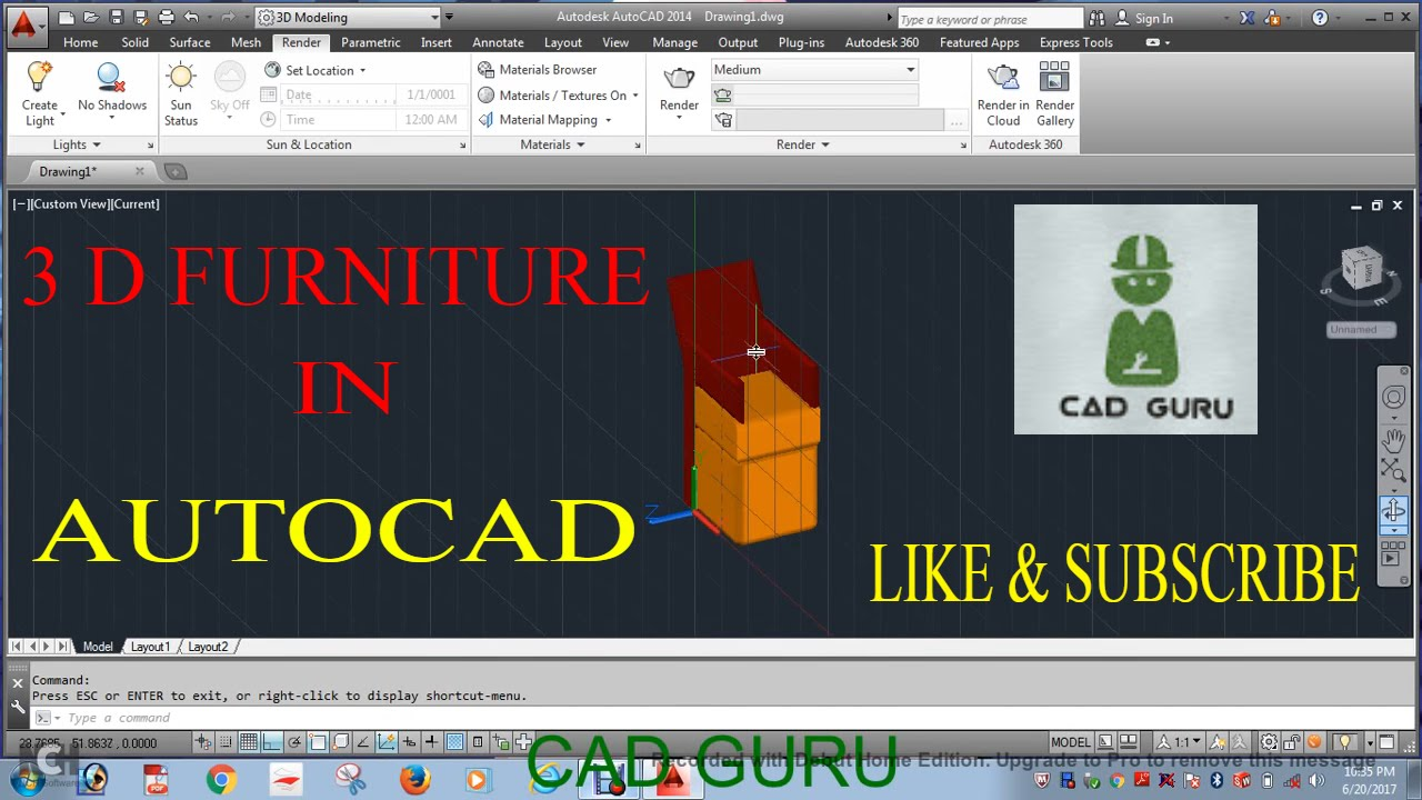 autocad 3d furniture blocks free download ( HINDI )