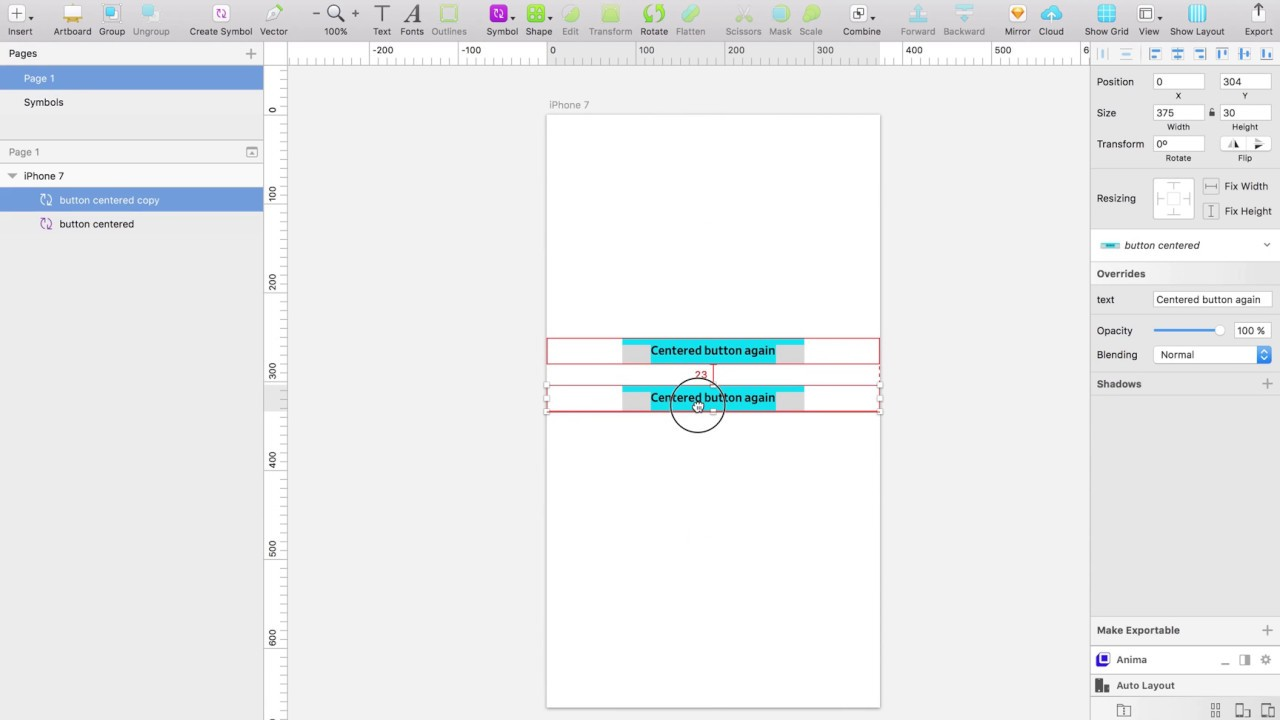 Dynamic button with sketch and Anima auto-layout
