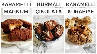 Hurmalı 3 Tarif | Vegan Magnum, Tahinli Çikolatalı Hurma, Karamelli Şekersiz Kurabiye