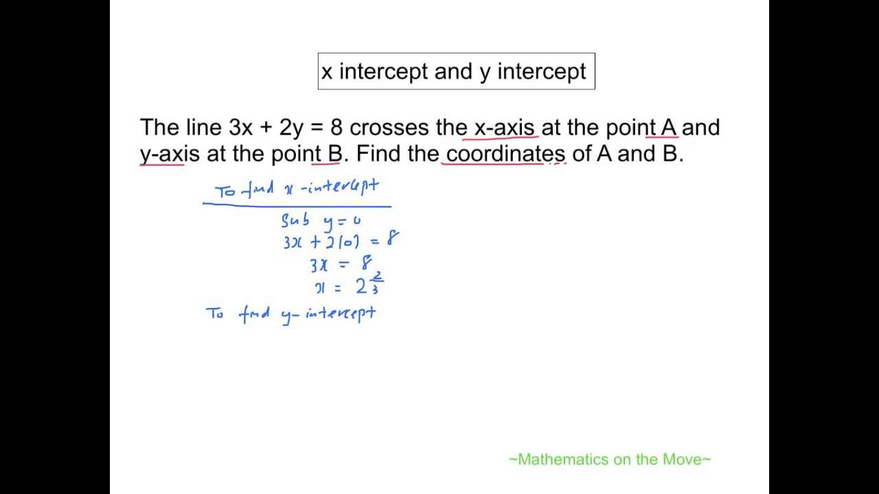 Coordinate Geometry X Intercept And Y Intercept
