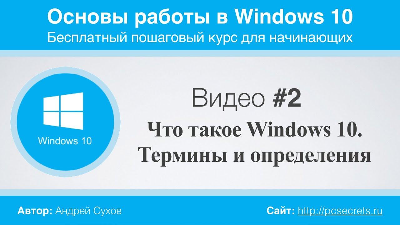 Видео #2. Что такое Windows 10. Термины и определения