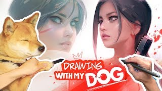 Drawing Tomb Raider WITH MY DOG! (Epic Adventure!)