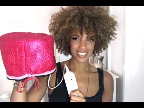 DIY HOT OIL TREATMENT FOR NATURAL HAIR USING BOUNCE ESSENTIALS HAIR HEATED CAP
