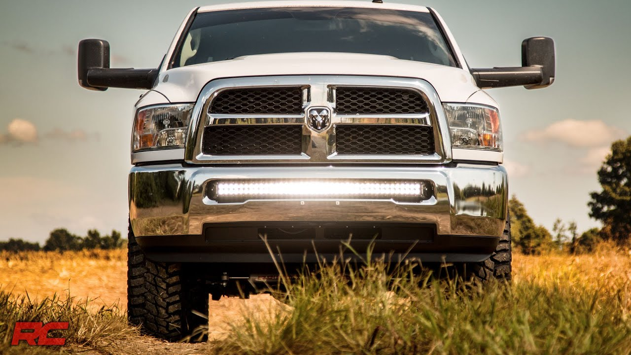 2010 2017 dodge ram 2500 3500 40 inch curved led light bar bumper mount by rough country youtube [ 1920 x 1080 Pixel ]