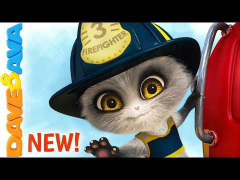 🚨 Five Little Firemen - Fire Truck |  Baby Songs | Dave and Ava 🚨