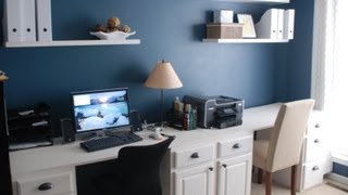 Build a custom desk yourself for a fraction of the cost of a new one out of recycled kitchen cabinets.