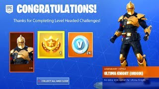 LEVEL-HEADED MISSION CHALLENGES FREE SKIN REWARDS - ULTIMA KNIGHT, ETERNAL VOYAGER FORTNITE