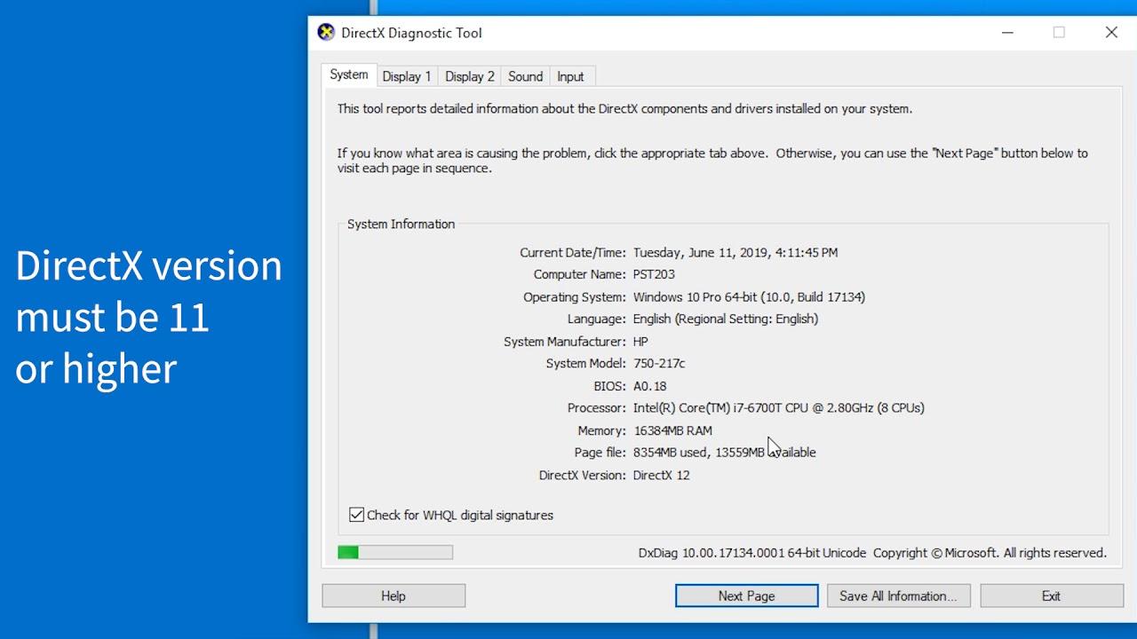 directx diagnostic tool download windows 10