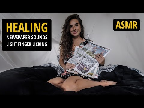 ASMR 📰 Healing newspaper sounds with light finger licking