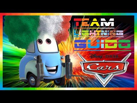 CARS 2 - Team Lightning Guido ( Disney game race + mini movies + McQueen & Mater & Finn ...