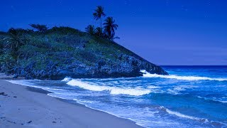 Deep Sleeping on the Beach with Waves Tonight - Relaxing Ocean Sounds at Night
