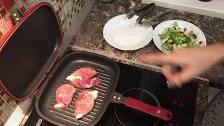 свинина и овощи на двойной сковороде-гриль