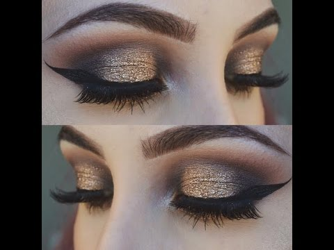 Gold and Black Smokey Eye Makeup Tutorial
