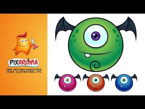 Cartoon Monster From Sketch To Vector - Illustrator Tutorial