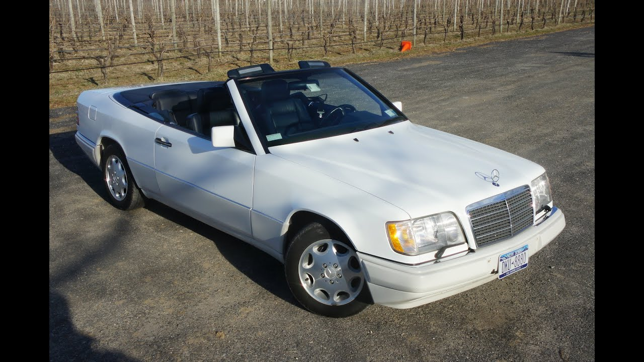 1995 mercedes benz e320 cabriolet for sale white blue low miles youtube. Black Bedroom Furniture Sets. Home Design Ideas