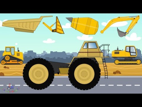 Construction Machinery #Excavator, Dump Truck, Bulldozer, Concrete mixer | video for kids