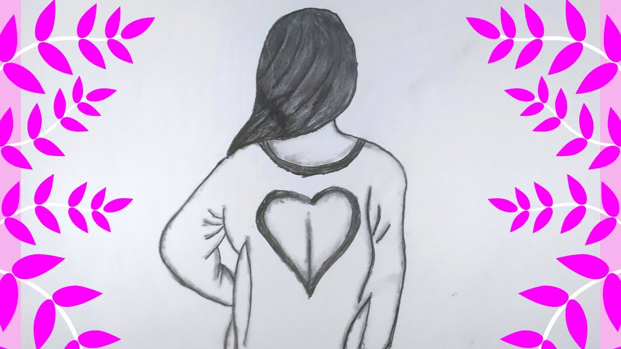 How to draw a girl back view for beginners    Pencil Sketch    Happy  Women's Day Drawing