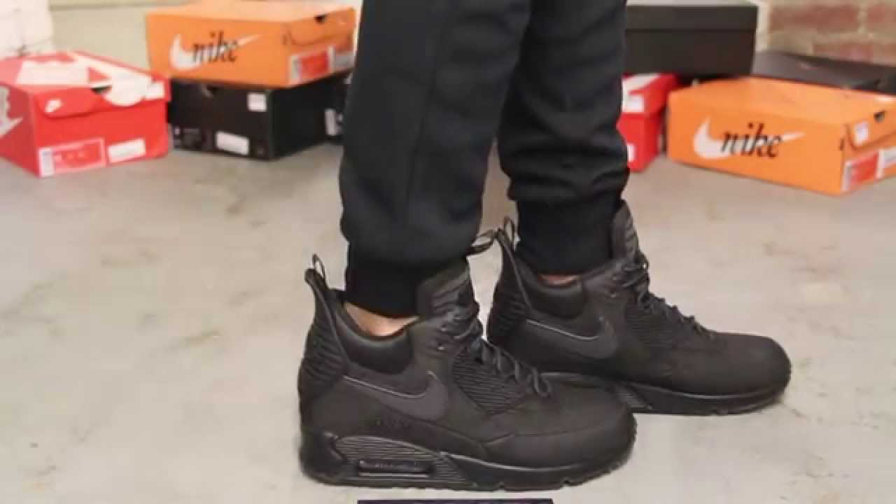 meilleur service 2e577 0e1a6 Nike Air Max 90 Sneakerboot Winter - Black - Black On-feet vidoe at  Exclucity