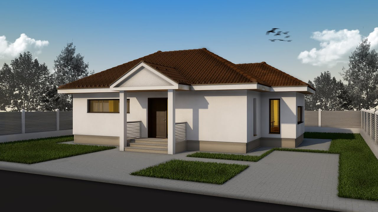 Proiect casa rustica parter 3 camere 77 mp v2 for Case parter 3 camere