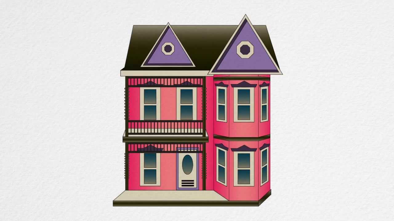 How to draw a dollhouse step by step youtube for House drawing easy