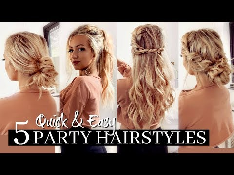 5 QUICK & EASY PARTY HAIRSTYLES / HEATLESS! 1